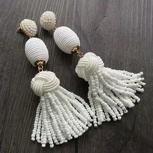 BaubleBar Sandriana Bead Thread Drop Earrings WHT